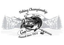 Curvatura del pesce del luccio con la canna da pesca attraversata con paesaggio nello stile engrving Logo per il club di pesca, d illustrazione vettoriale