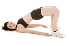 Curvatura del reggiseno di sport del nero di forma fisica della donna indietro Immagine Stock Libera da Diritti