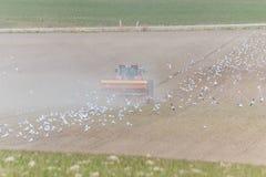 Curvatura della primavera con il trattore Fotografia Stock