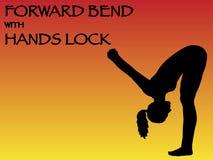 Curvatura di andata della donna di yoga con la posa della serratura delle mani illustrazione vettoriale