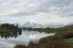 Curvatura di Oxbow nel grande parco nazionale di Tetons Fotografia Stock