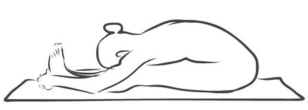 Curvatura di Paschimottanasana Forwad, figura di yoga Fotografia Stock