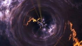 A curvatura do espaço tempo, voo em um buraco negro, espaça a composição abstrata ilustração stock