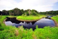 Curvatura em ferradura do rio na pradaria de Paynes Imagens de Stock