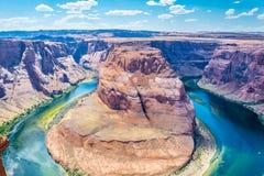 Curvatura a ferro di cavallo, Arizona, pagina Viaggio attraverso i parchi naturali degli Stati Uniti immagine stock libera da diritti