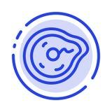 Curvatura, futuro, moto, paradosso, linea punteggiata blu linea icona di fisica illustrazione vettoriale