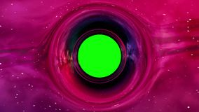 Black hole in curved space. Curvature of spacetime around the black hole with green screen, seamless loop abstract 3D animation stock video footage