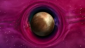 Pluto in curved space. Curvature of spacetime around the Pluto, seamless loop abstract 3D animation. Texture of dwarf Planet was created in graphic editor stock footage