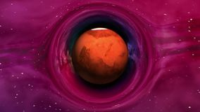 Mars in curved space. Curvature of spacetime near the Mars, seamless loop abstract 3D animation. Texture of Planet was created in graphic editor without photos stock footage