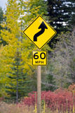 Curve Ahead Highway Sign 60 MPH Stock Photos
