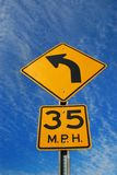 Curve Ahead Road Sign Stock Photography