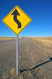 Curve ahead roadsign. S-curve ahead road sign on a patagonian deserted road Royalty Free Stock Photography