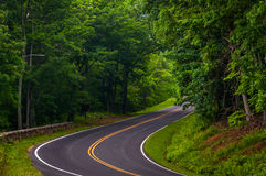 Curve along Skyline Drive in Shenandoah National Park Stock Photos