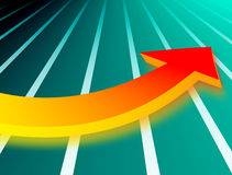 Curve arrow. Red and orange arrow over green striped background Royalty Free Stock Image