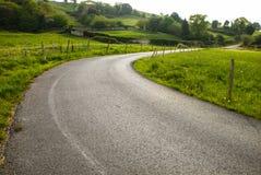 Curve. Asphalt road between green pastures Stock Photos