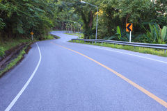 Curve of asphalt road in mountain  Royalty Free Stock Image