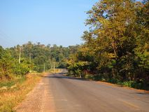 Curve asphalt road view. Background stock photo