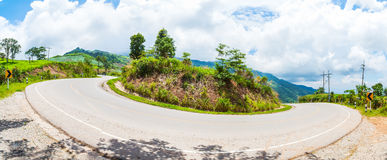 Curve asphalt road view, panorama Royalty Free Stock Photography