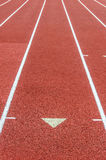 Curve on a athletics running track Royalty Free Stock Photo
