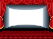 Curve auditorium cinema. Vector illustration of the empty cinema with auditorium vector illustration
