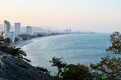 Curve beach landscape. On the evening royalty free stock image