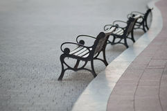 Curve of benches stock images