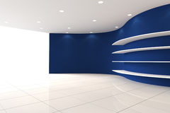Curve Blue Wall Empty Room with Shelves Stock Images