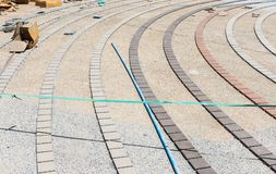 Curve brick pavement in under construction. Stock Photography