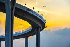 Curve bridge over the sky. Royalty Free Stock Images