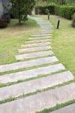 Curve cement block walkway in garden Royalty Free Stock Photos