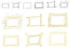 Curve contour photoframe. Set with a curve vector photoframe of brown color Royalty Free Stock Photo