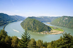 Curve of Danube River Stock Photo