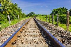 Curve det järnväg spåret Royaltyfria Bilder