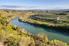 Curve of the Ebro River near Flix, Spain Royalty Free Stock Photography