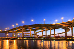 Curve of expressway by river in Bangkok Royalty Free Stock Image
