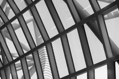Curve floor. Of Suwannabhum airport Thailand in black and white style stock photography