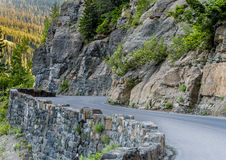 Curve in Going To The Sun Road. As it winds through the Montana mountains Royalty Free Stock Photo