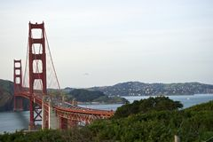 Curve of the Golden Gate Bridge view to Marin County Stock Photos