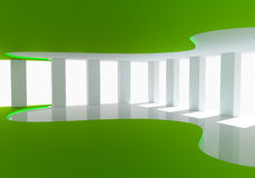 Curve green empty room Royalty Free Stock Photos