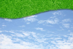 Curve green grass sky Royalty Free Stock Photography
