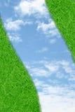 Curve green grass sky Stock Photos