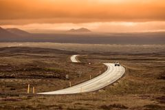 Curve Highway through Iceland Landscape Royalty Free Stock Photography