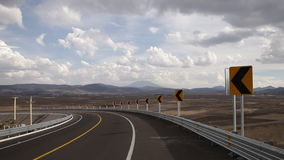 Curve and indications of the highway stock footage