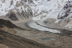 Curve of the Khumbu glacier Royalty Free Stock Photo