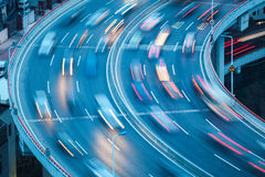Curve lanes closeup. Closeup of the curve lanes with car motion blur royalty free stock photos