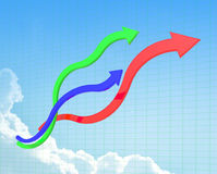 Curve line of chart. Created by 3d Program Stock Photography