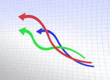 Curve line of chart. Created by 3d Program Stock Photos