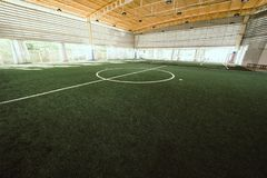 Line of an indoor football soccer training field. Curve Line of an indoor football soccer training field stock photography