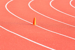 Curve line on running track. Curve line on red running track royalty free stock photos