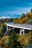 The Curve of Linn Cove Viaduct in Fall Stock Images